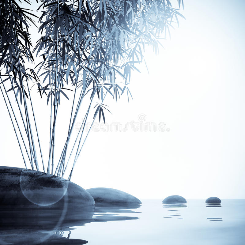 Download Bamboo  and stones stock illustration. Image of black - 23240082