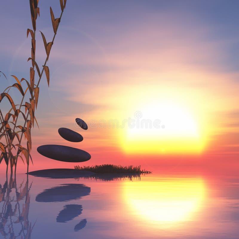 bamboo stones zen 向量例证
