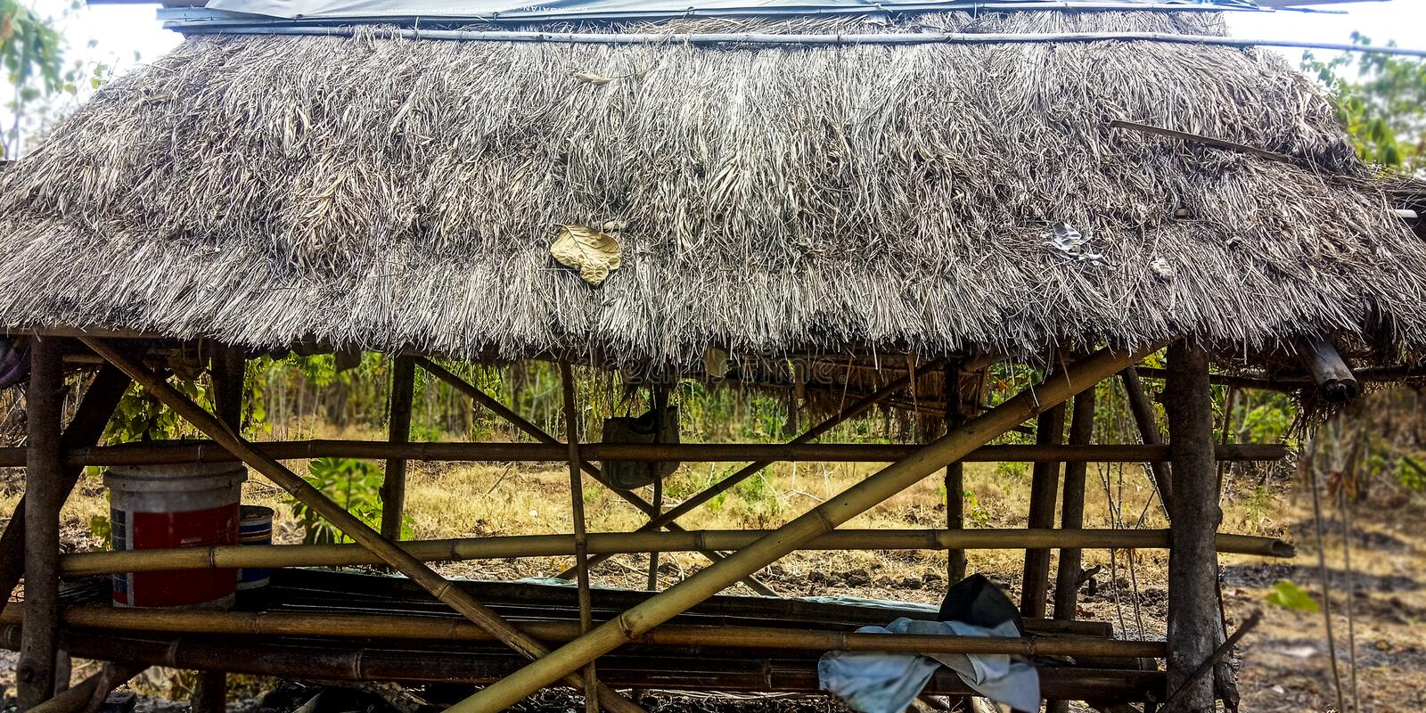 Bamboo and straw hut stock photos