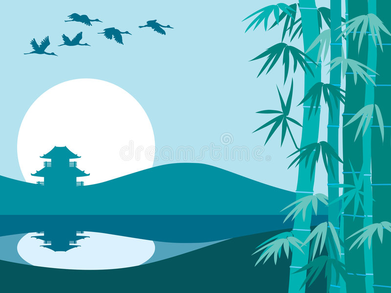 Download Bamboo, sun and temple stock vector. Image of nature, jointed - 2167356