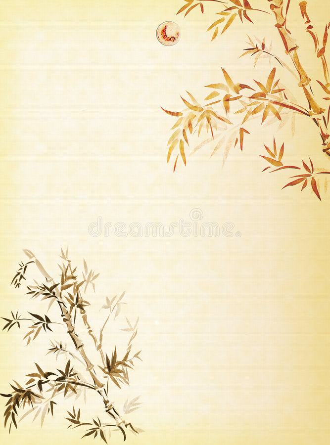 Bamboo on sunset vector illustration