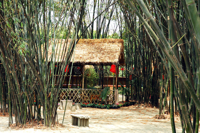 Bamboo tea house. Tea house in a Chinese bamboo garden in Chengdu,capital of Sichuan royalty free stock photo