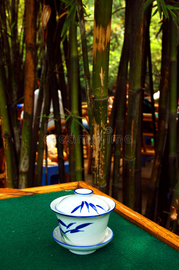 Bamboo tea house. Tea house in a Chinese bamboo garden in Chengdu,capital of Sichuan royalty free stock images