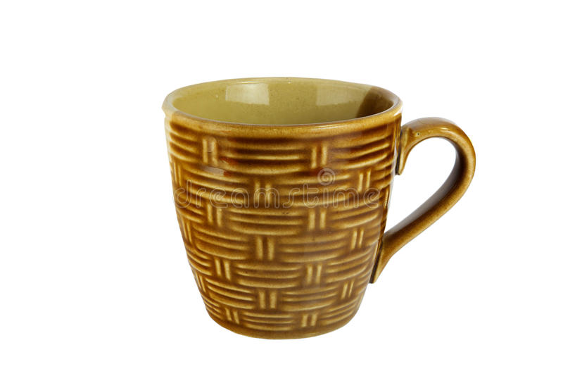 Bamboo texture mug isolate on white royalty free stock photo