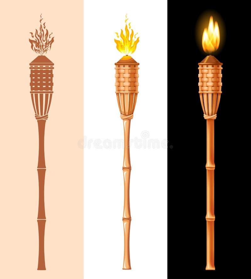 Bamboo Tiki Torch Set stock illustration