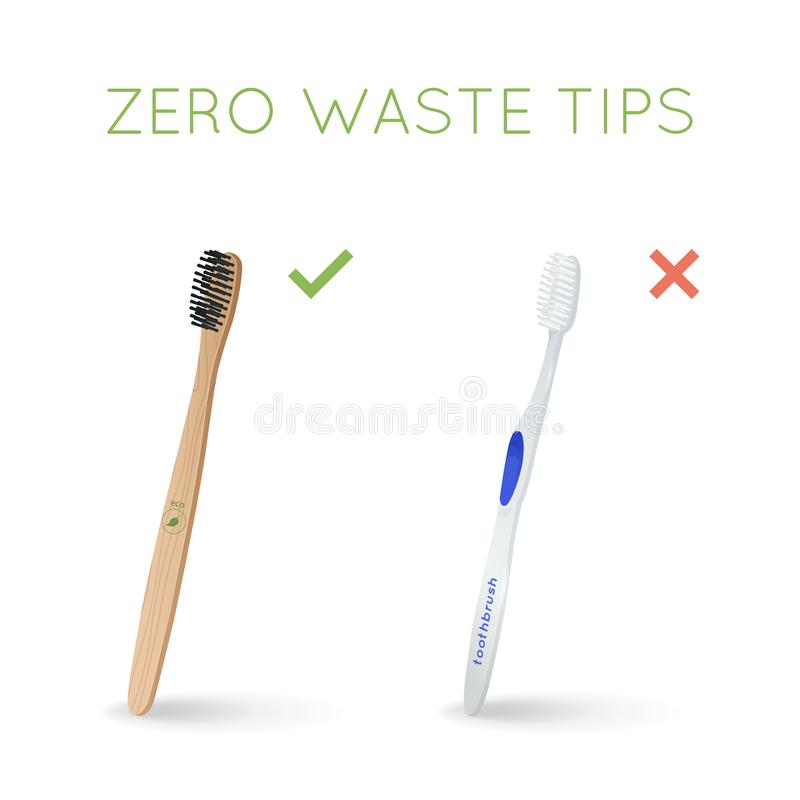 Bamboo toothbrush instead of plastic toothbrush stock illustration