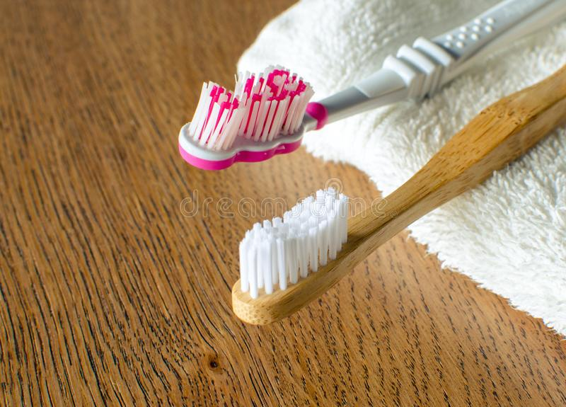 Closeup Of Wooden Toothbrush With Towel Stock Photo