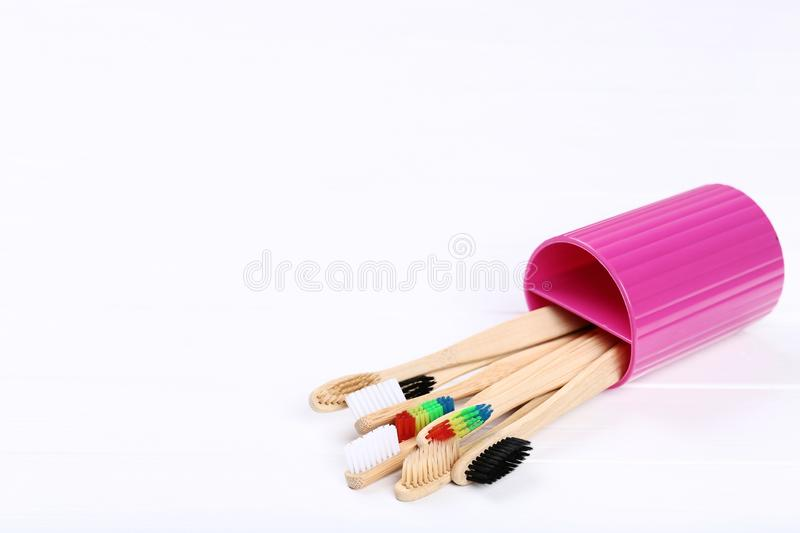 Bamboo toothbrushes in basket royalty free stock photos