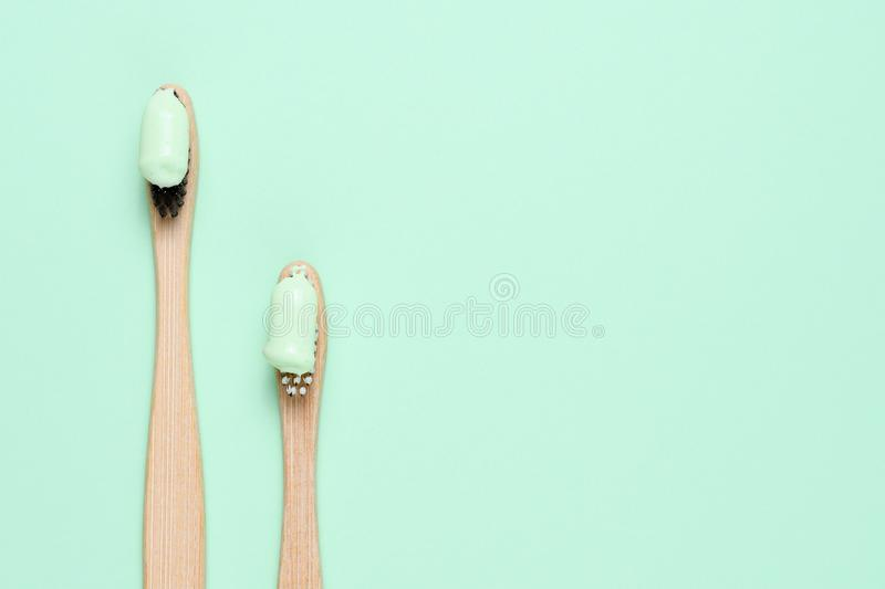 Bamboo toothbrushes with natural toothpaste royalty free stock image