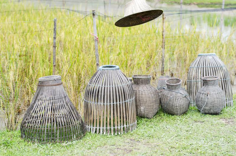 Bamboo trap for fish stock images