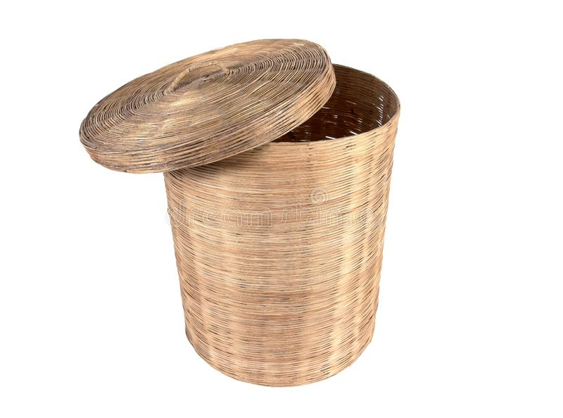 Bamboo trash bin basket with cover isolated on white background stock photography