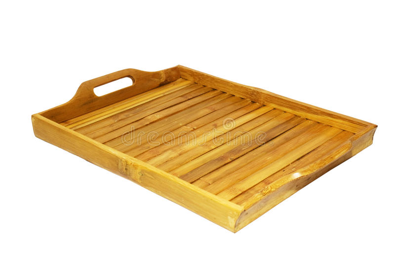 Bamboo tray. Isolated on white background stock photos