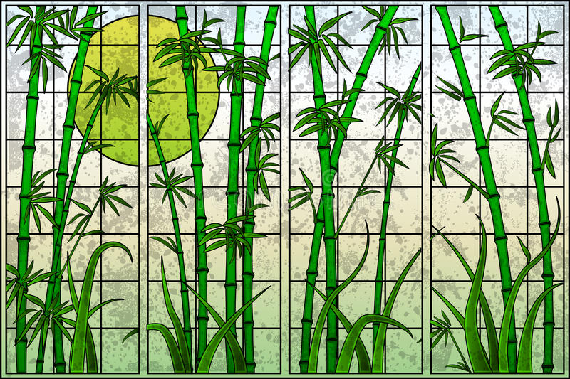 Bamboo Tree. Easy to edit vector illustration of bamboo tree in stained glass painting stock illustration