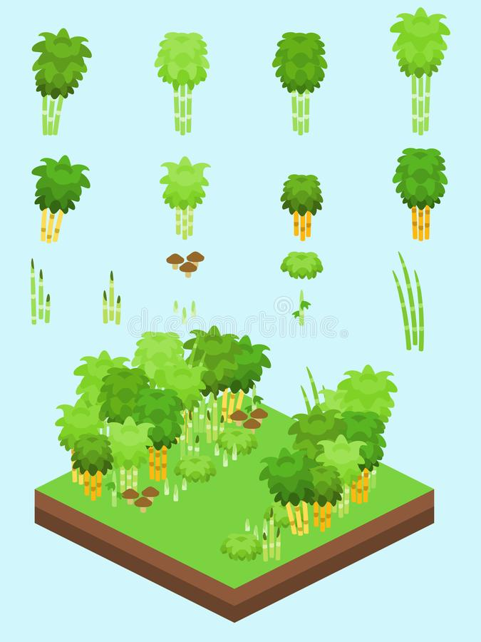 Isometric Simple Plants Set - Bamboo Forest royalty free illustration