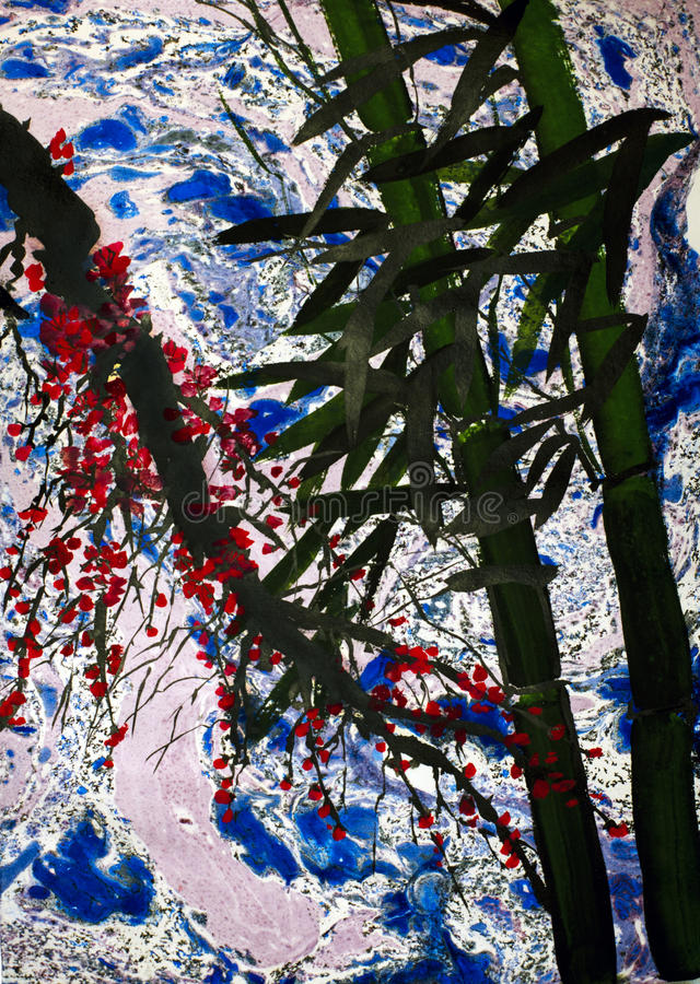 Bamboo trees and plums branch. On an abstract background stock photography