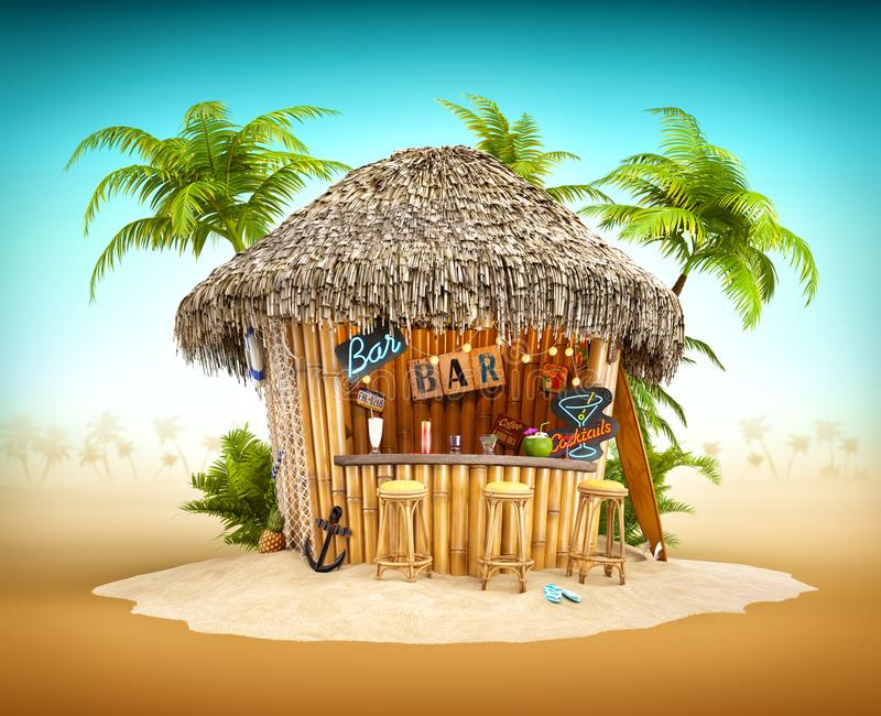Bamboo tropical bar. On a pile of sand. Unusual travel illustration vector illustration