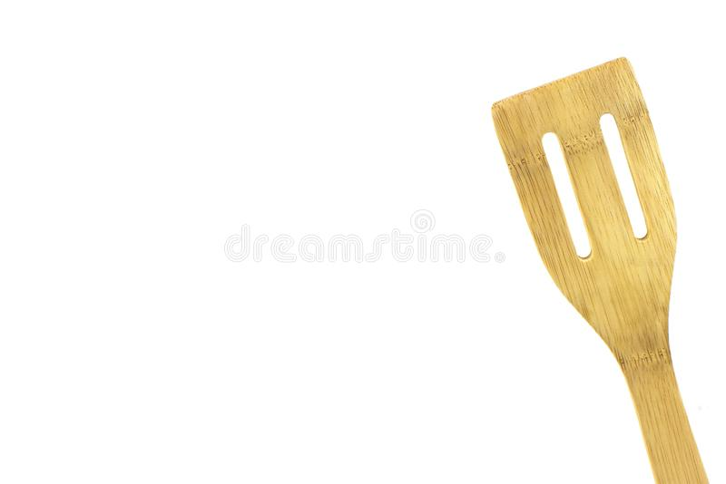 Wood, bamboo, spatula, isolated, high key. Wooden utensil, isolated,high key, room for text, great for cooking, food ads royalty free stock photo