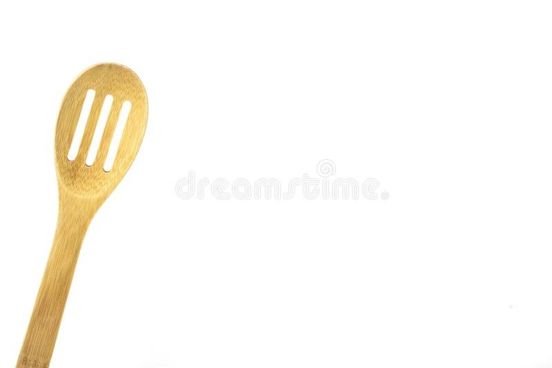 Wood, bamboo, spatula, isolated, high key. Wooden utensil, isolated,high key, room for text, great for food and cooking ads stock photo