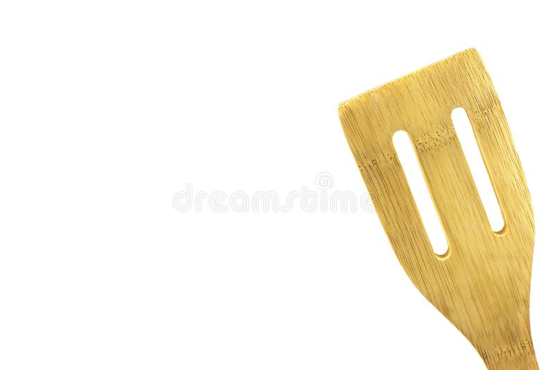 Wooden spatula, isolated high key. Wooden utensil, isolated,high key, room for text, great for food and cooking ads royalty free stock image