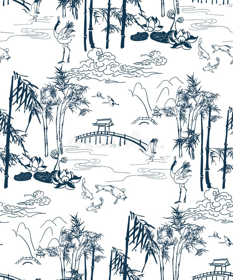 Bamboo vector japanese pattern brige mountains seamless pattern royalty free stock photo