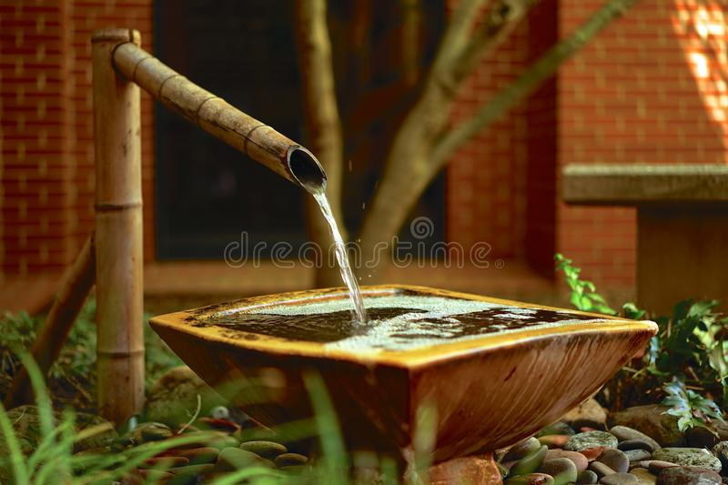 Bamboo water feature in enclosed garden. This running water fountain adds soothing, peaceful sounds to a walled garden royalty free stock photography