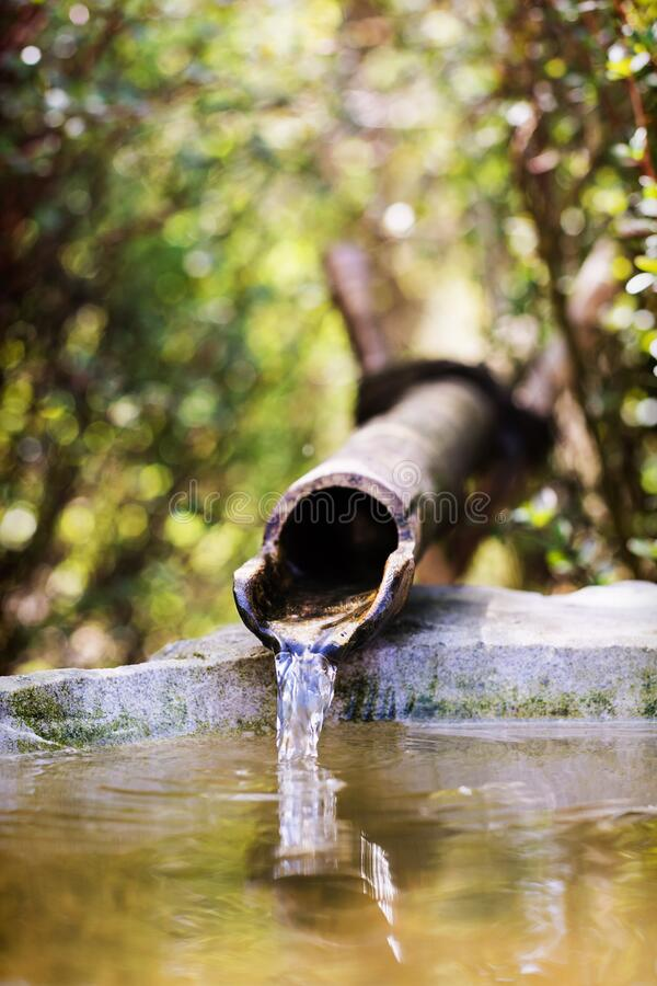 Free Bamboo Water Pipe In  Japanese Garden Stock Photo - 176373800