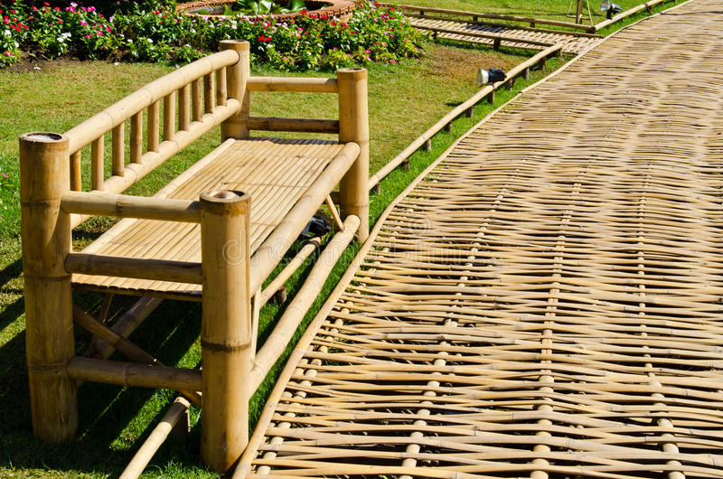Bamboo way in the garden. Thailand royalty free stock photography