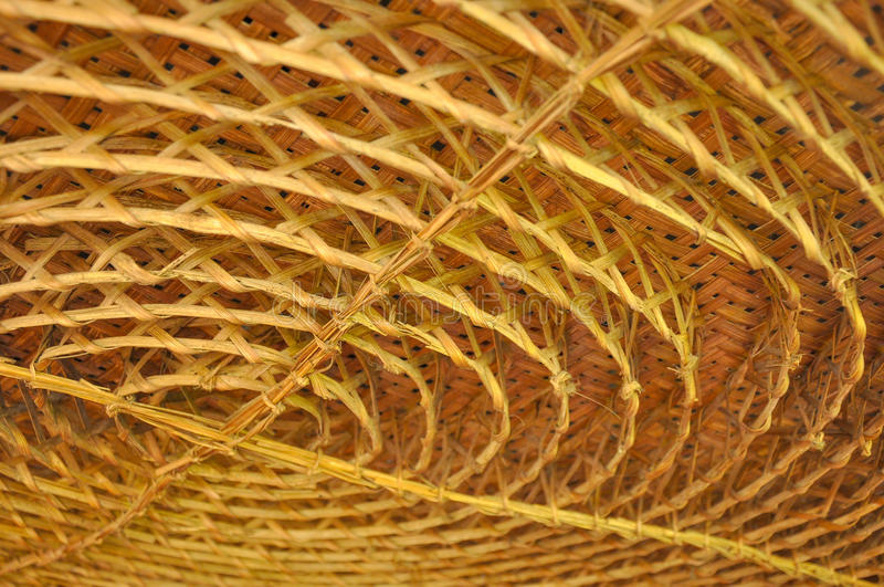 Bamboo weaving in circle shape for ceiling decoration stock image