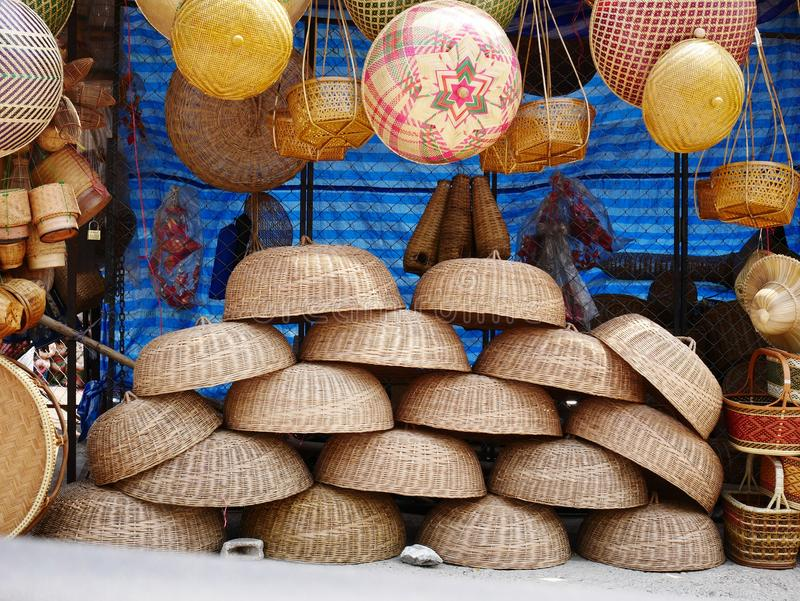 Bamboo wickerwork baskets on the thailand market place. Handmade from natural material. Bamboo handicraft products to maintain a traditional handicraft in a royalty free stock image