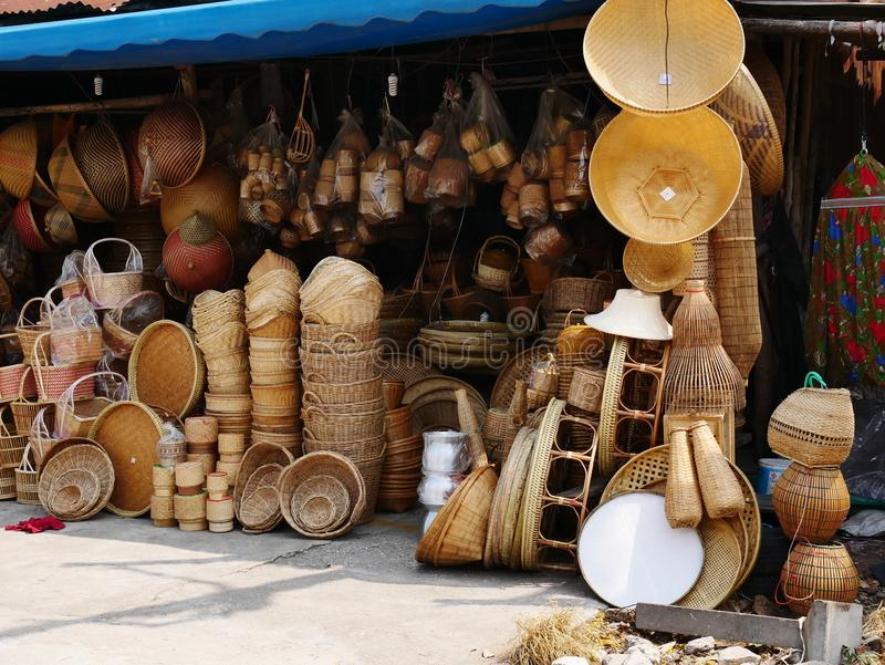 Bamboo wickerwork baskets on the thailand market place. Handmade from natural material. Bamboo handicraft products to maintain a traditional handicraft in a royalty free stock photography