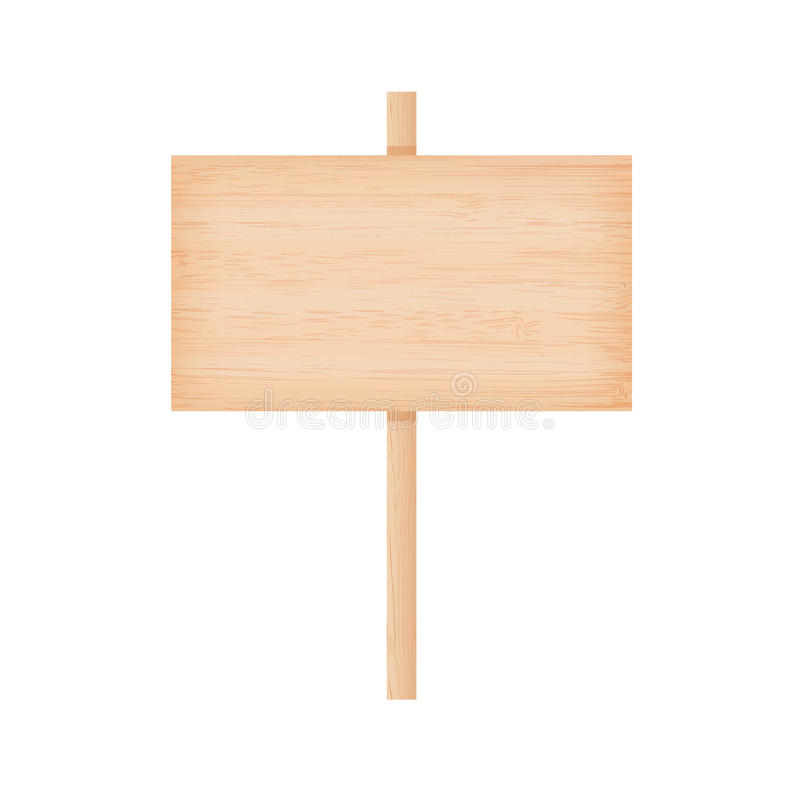 Bamboo wooden signboard on a pole stock illustration