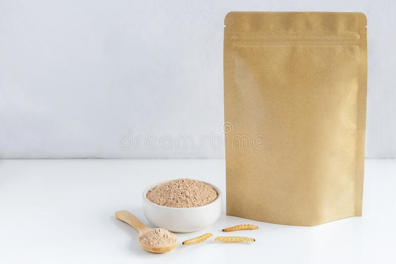 Bamboo worm powder. Bamboo Caterpillar flour for Insects eating as food edible items made of cooked insect meat in bowl and spoon royalty free stock photos