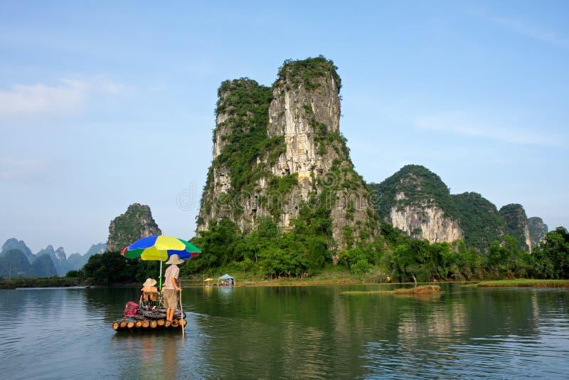 bamboo yangshou реки сплотка li фарфора стоковое изображение