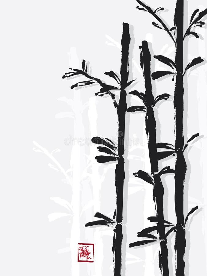 Bamboon中国人刷子 库存例证