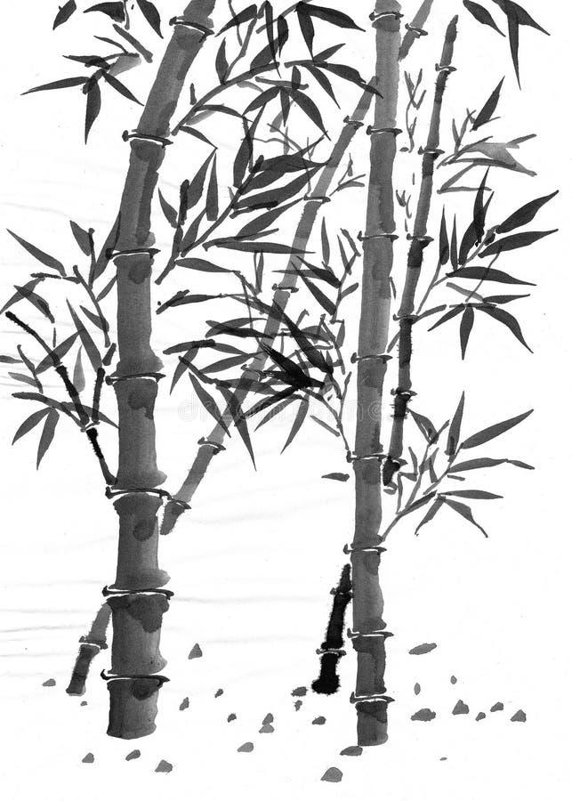 Bambou avec des lames photographie stock libre de droits