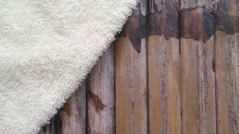Bambou avec le détail et le fond de texture de coton photo stock