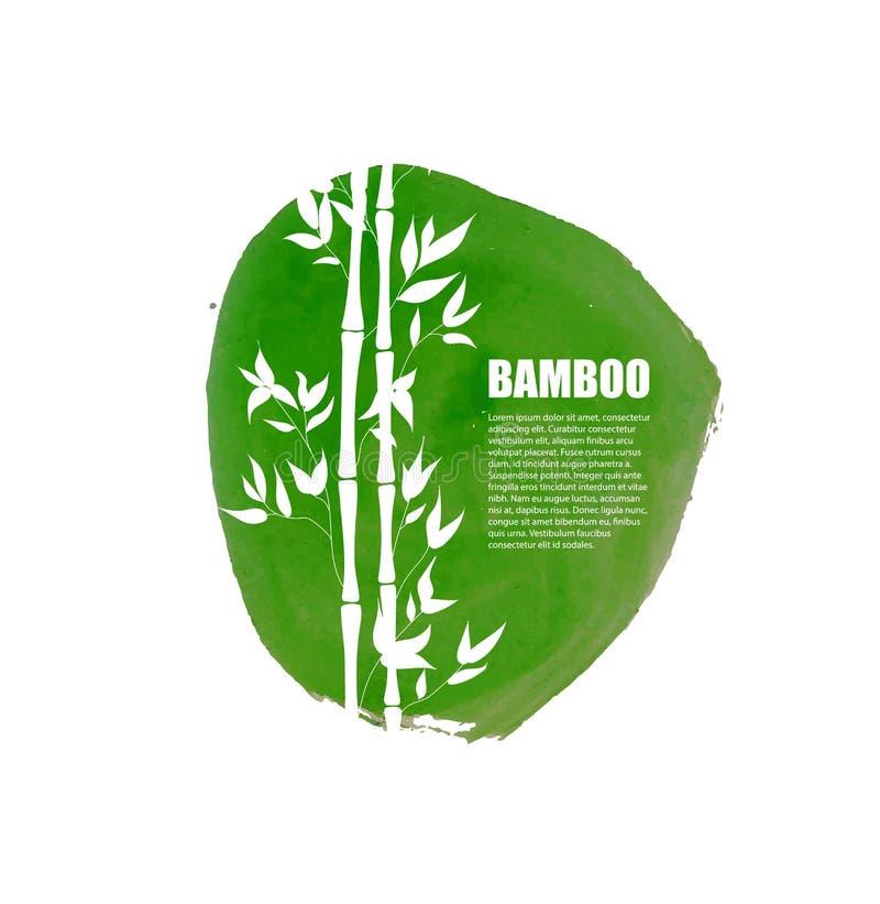 Bambou de vecteur sur la tache verte de peinture, la baisse réaliste d'aquarelle et la silhouette blanche illustration libre de droits