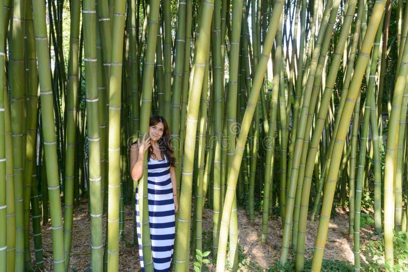 Bambou et fille image libre de droits