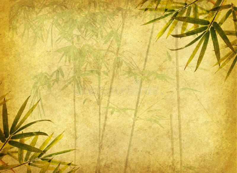 Bambou sur la vieille texture de papier grunge images libres de droits