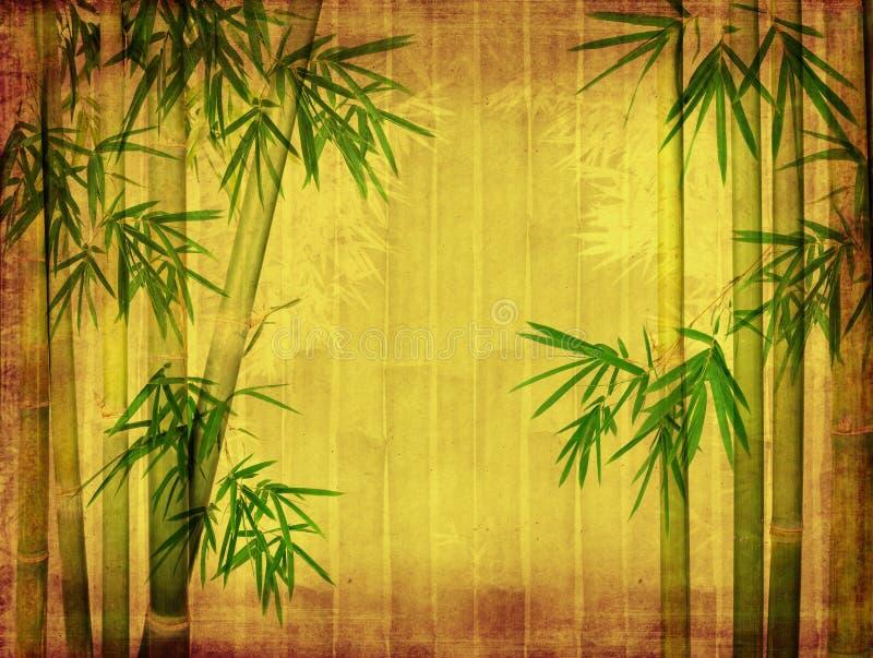 Bambou sur la vieille texture de papier grunge photographie stock