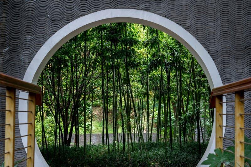 Bambous à l'intérieur de porte de style chinois image libre de droits
