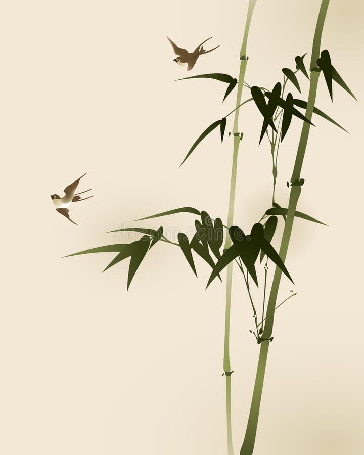 bambu branches orientalisk målningsstil stock illustrationer