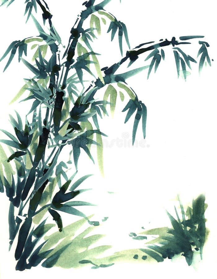 Bambu da pintura da escova do chinês ilustração royalty free