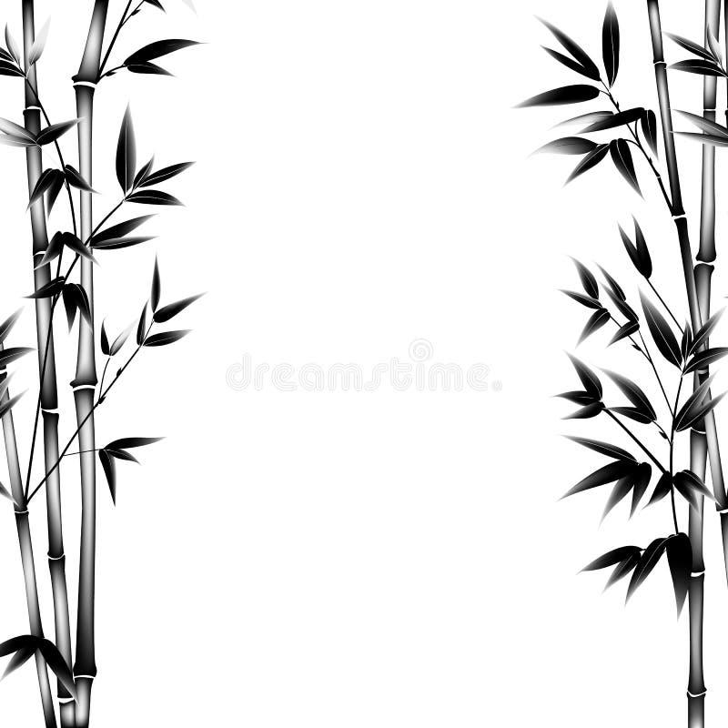 Bambu da pintura da tinta ilustração stock