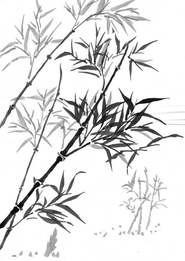 Bambu de Sumi-e ilustração stock