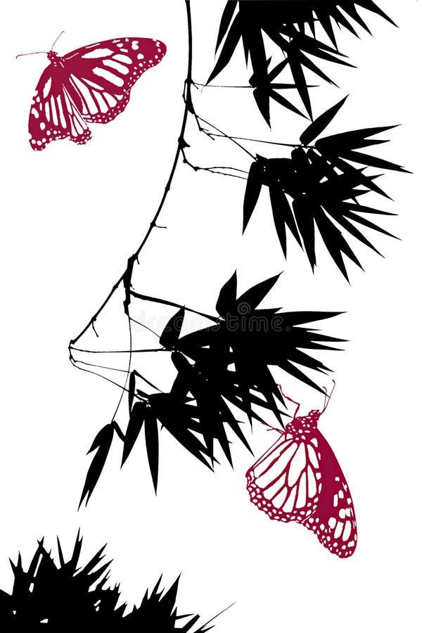 Bambu e borboletas ilustração do vetor