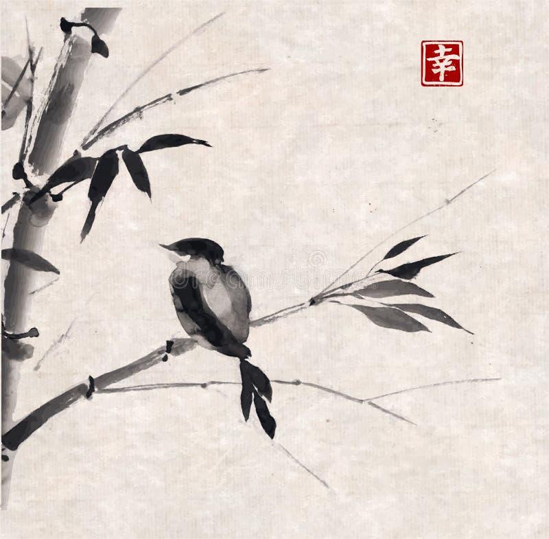 Bambu e pássaro Desenhado à mão com tinta ilustração royalty free
