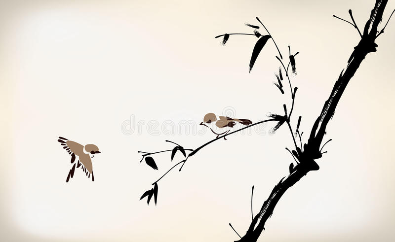 Bambu e pássaro pintados tinta ilustração royalty free