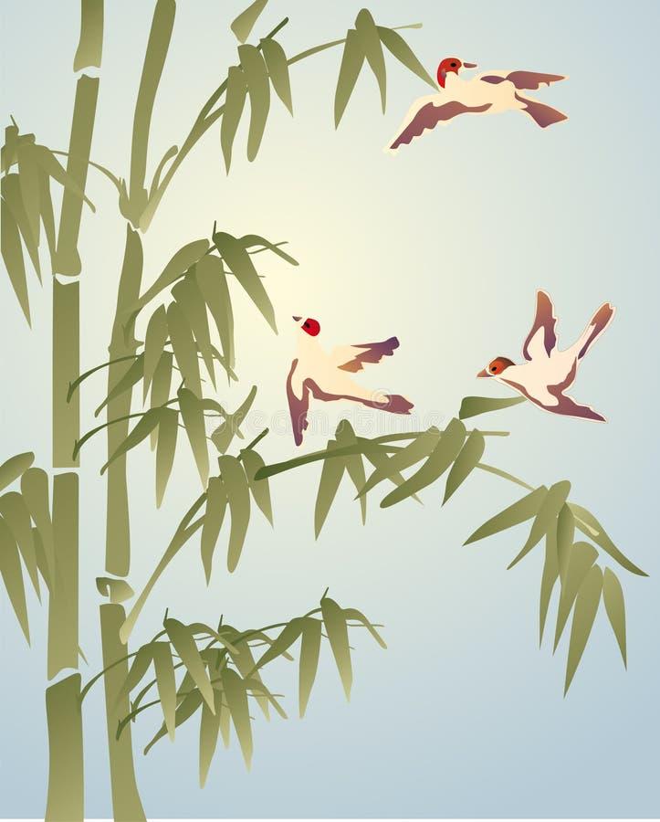 Bambu e três pássaros pequenos ilustração do vetor