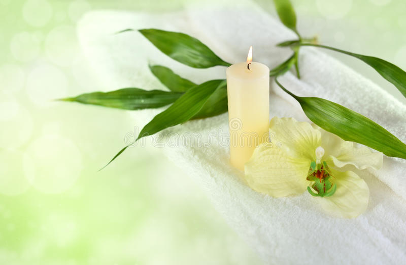 Bambu e velas no verde imagens de stock royalty free